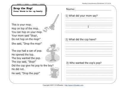 Drop the Mop! | 1st Grade Reading Comprehension Worksheet Wk 10