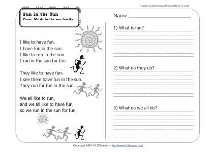 Fun in the Sun | 1st Grade Reading Comprehension Worksheet Wk 15