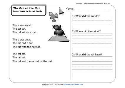 the cat on the mat 1st grade reading comprehension worksheet wk 1. Black Bedroom Furniture Sets. Home Design Ideas