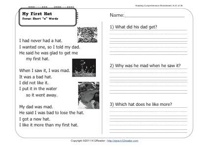 My First Hat 1st Grade Reading Comprehension Worksheet Wk 21