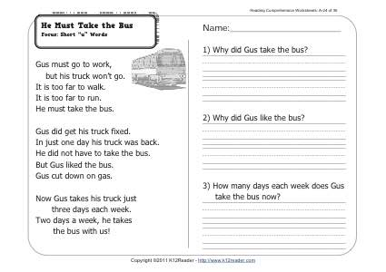 He Must Take the Bus | 1st Grade Reading Comprehension Worksheet Wk 24