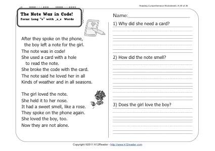 The Note Was in Code!   1st Grade Reading Comprehension ...