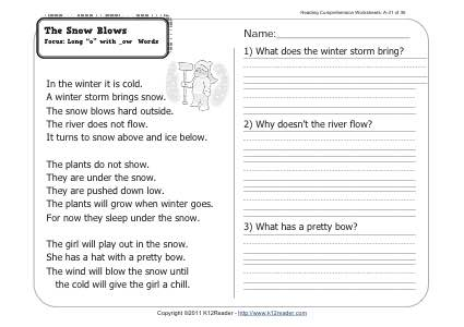 The Snow Blows | 1st Grade Reading Comprehension Worksheet Wk 31