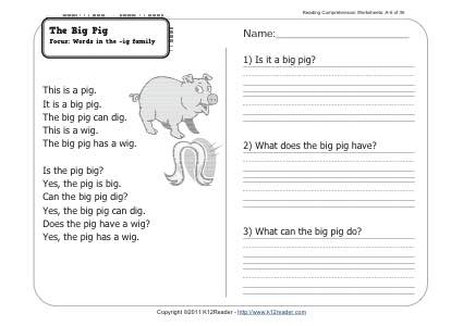 The Big Pig | 1st Grade Reading Comprehension Worksheet Week 6