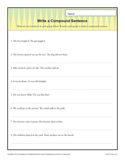 Write a Compund Sentence | Sentence Structure Worksheets