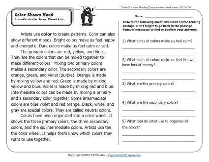Color Shows Mood | 2nd Grade Reading Comprehension Worksheets