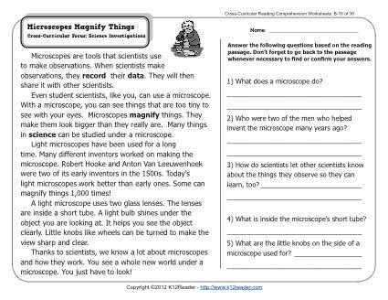 Microscopes Magnify Things | 2nd Grade Reading Comprehension Worksheets