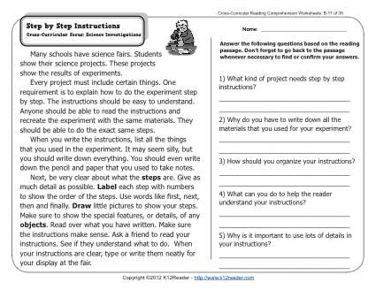 Step by Step Instructions | 2nd Grade Reading Comprehension Worksheets