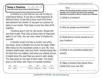 Using a Timeline | 2nd Grade Reading Comprehension Worksheets