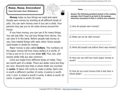 Money, Money, Everywhere! | 2nd Grade Reading Comprehension Worksheets