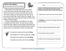 poetry uses rhyme 2nd grade reading comprehension worksheets. Black Bedroom Furniture Sets. Home Design Ideas