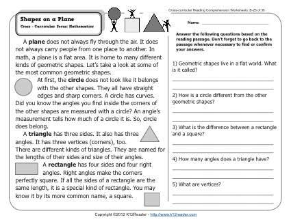 Shapes On A Plane 2nd Grade Reading Comprehension Worksheets
