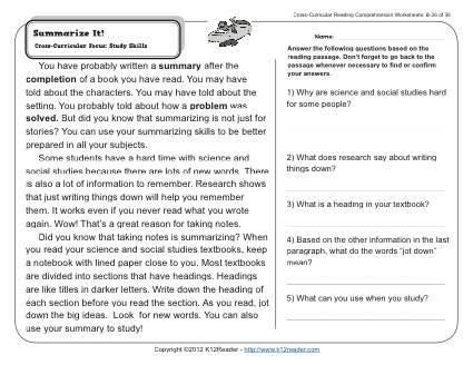 Summarize it! | 2nd Grade Reading Comprehension Worksheets