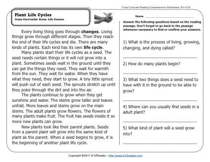 Plant Life Cycles | 2nd Grade Reading Comprehension Worksheets