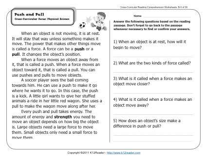 push and pull 2nd grade reading comprehension worksheets. Black Bedroom Furniture Sets. Home Design Ideas