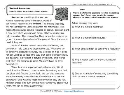 Limited Resources | 2nd Grade Reading Comprehension Worksheets