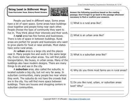 using land in different ways 2nd grade reading comprehension worksheets. Black Bedroom Furniture Sets. Home Design Ideas