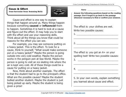 Cause Effect 2nd Grade Reading Comprehension Worksheets