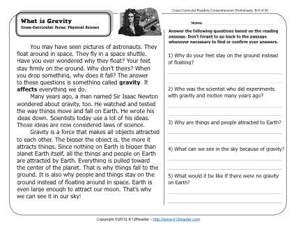 What is Gravity? | 2nd Grade Reading Comprehension Worksheets