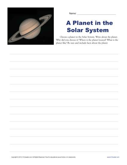 Planet in the Solar System | 3rd and 4th Grade Writing Prompt ...