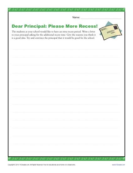 Dear principal please more recess 3rd and 4th grade for Writing templates for 3rd grade
