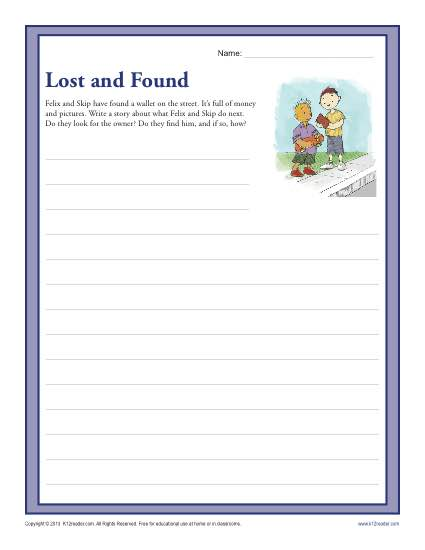 Lost and Found | 3rd and 4th Grade Writing Prompt Worksheet
