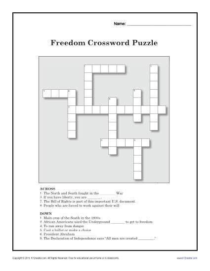 About This Worksheet Your Student Will Ring Out Freedom With Fun Crossword Puzzle