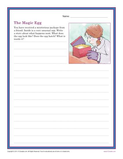 the magic egg creative writing prompt for 3rd and 4th grade. Black Bedroom Furniture Sets. Home Design Ideas