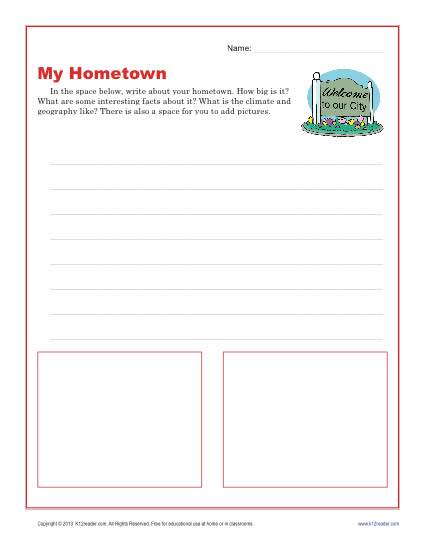 3rd and 4th Grade Writing Prompt - My Hometown