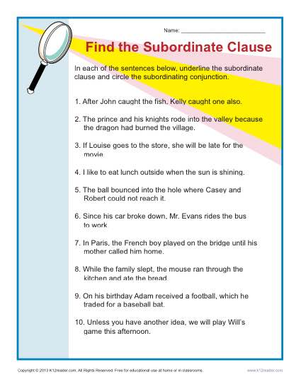 Find the Subordinate Clause | Sentence Structure Worksheets