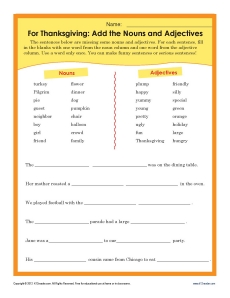 Noun and Adjective Thanksgiving Worksheet