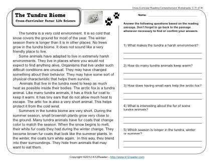 the tundra biome 3rd grade reading comprehension worksheet. Black Bedroom Furniture Sets. Home Design Ideas