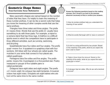 Geometric Shape Names | 3rd Grade Reading Comprehension