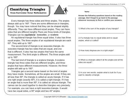 Classifying Triangles 3rd Grade Reading Comprehension Worksheet
