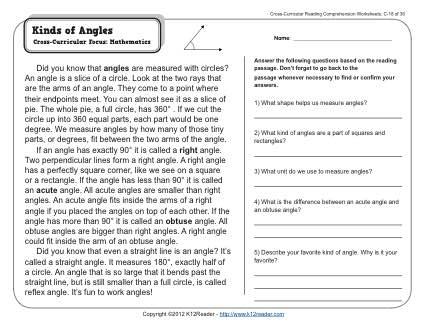 Kinds Of Angles 3rd Grade Reading Comprehension Worksheet