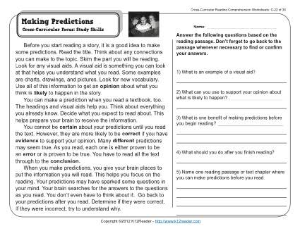 Language At 3 Predicts 3rd Grade >> Making Predictions 3rd Grade Reading Comprehension Worksheet