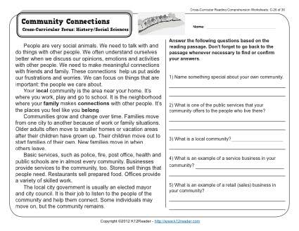 Community Connections | 3rd Grade Reading Comprehension Worksheet