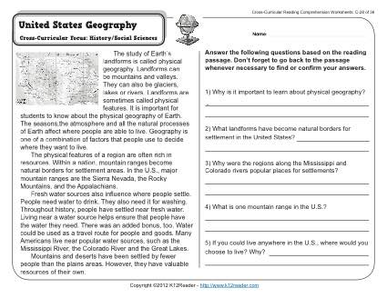 Gr Wk United States Geography on reading and answering questions 1st grade