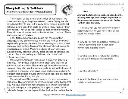 Storytelling and Folklore | 3rd Grade Reading Comprehension Worksheet
