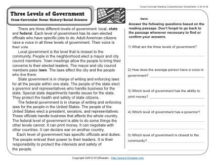 three levels of government 3rd grade reading comprehension worksheet. Black Bedroom Furniture Sets. Home Design Ideas