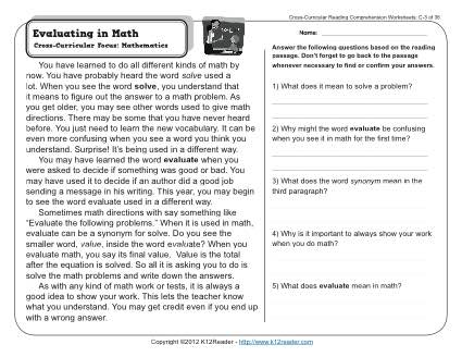 Evaluating In Math 3rd Grade Reading Comprehension Worksheet