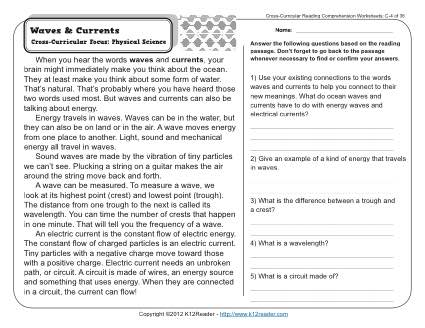 Waves and Currents | 3rd Grade Reading Comprehension Worksheet