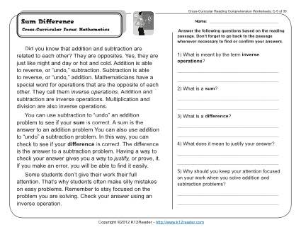 Sum Difference | 3rd Grade Reading Comprehension Worksheet