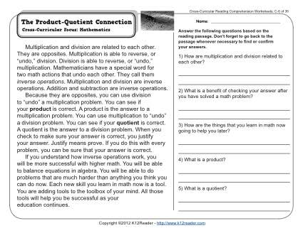 The Product-Quotient Connection | 3rd Grade Reading ...