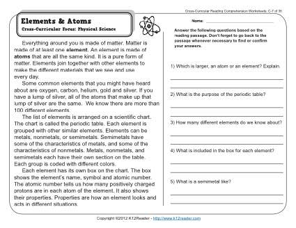 Elements and Atoms | 3rd Grade Reading Comprehension Worksheet