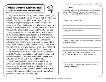 What Causes Reflections | 3rd Grade Reading Comprehension Worksheet