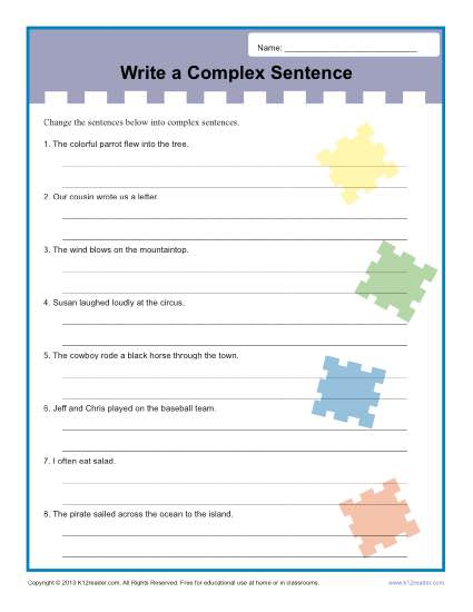 Writing Worksheet Activity - Write a Complex Sentence