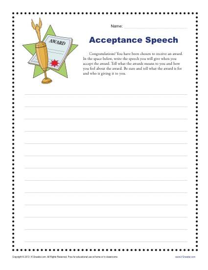 acceptance speech 4th and 5th grade writing prompt worksheet. Black Bedroom Furniture Sets. Home Design Ideas