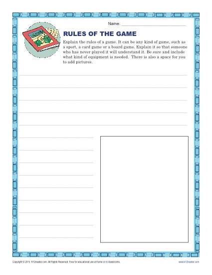 4th and 5th Grade Writing Prompt - Rules of the Game
