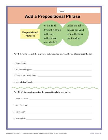 Printable Writing Exercise - Adding Prepositional Phrases